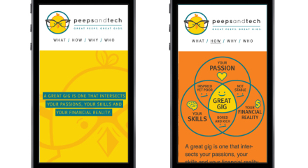 MOBILE SITE DESIGN: Scrolling website is also mobile optimized. Custom infographic to explain how Peeps and Tech works.